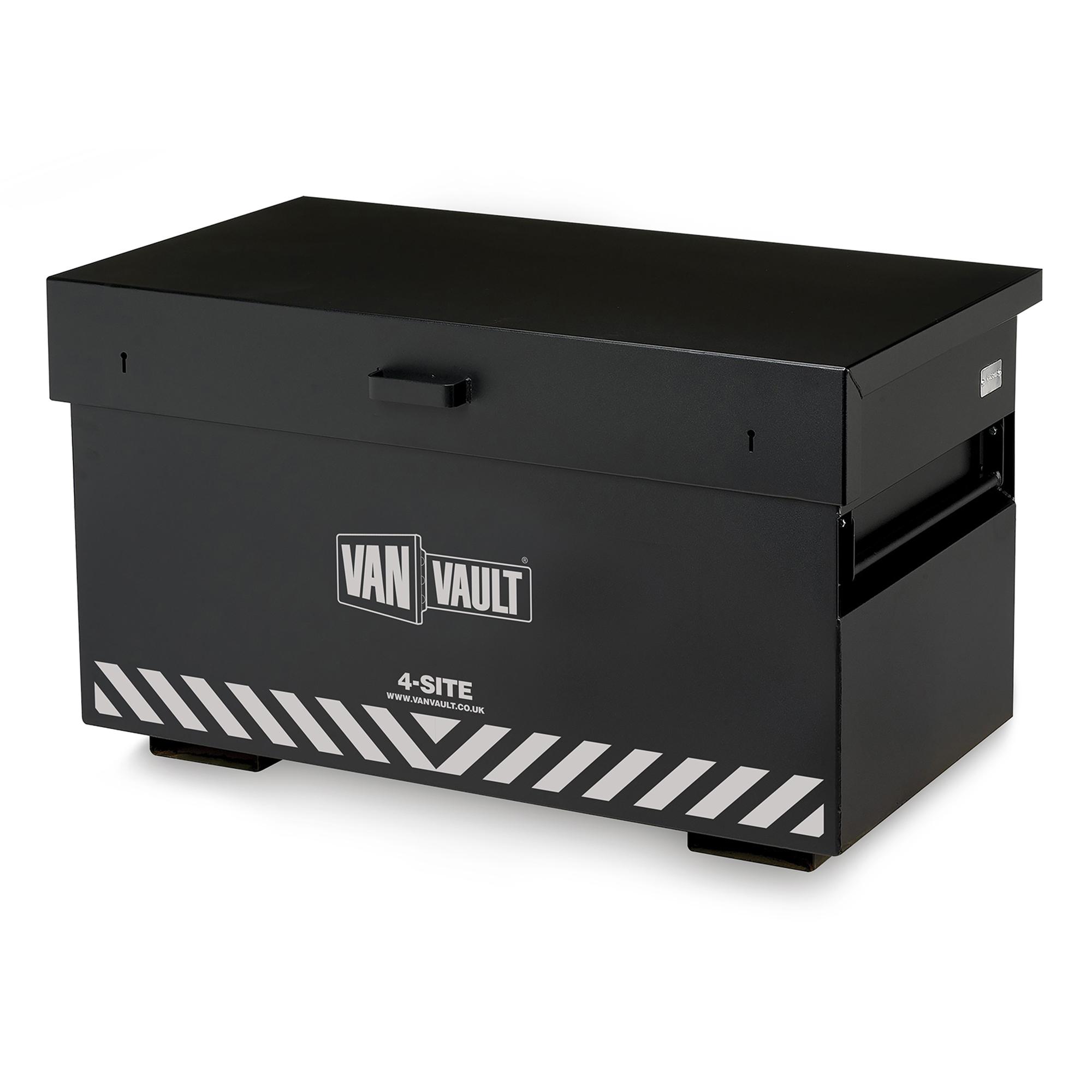 Black sheet steel Van Vault 4-site with fork lift points, side handles and contrasting grey Van Vault branding