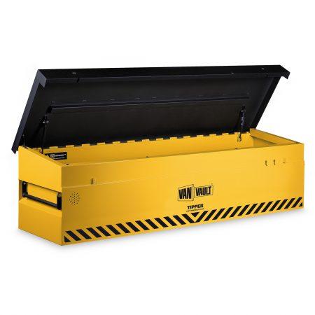 Yellow sheet steel Van Vault tipper with black sloping lid, comfort grip handles and black Van Vault branding