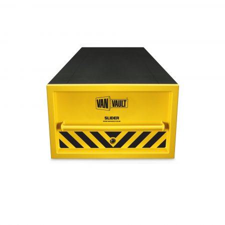 Yellow sheet steel Van Vault slider drawer with steel grip handles, reinforced top and black Van Vault branding
