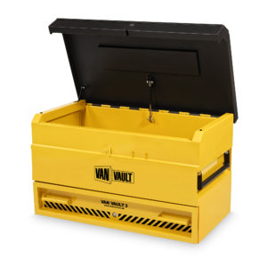 Yellow sheet steel Van Vault 3 with black lid, comfort grip handles and Black Van Vault branding, on a white background