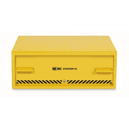 Yellow sheet steel Van Vault stacker XL drawer with steel grip handles and black Van Vault branding, on a white background