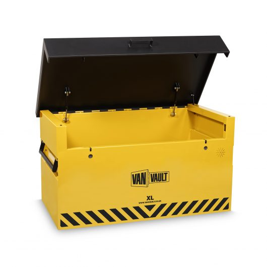 Yellow sheet steel Van Vault XL storage box with black lid, wide mouth for easy access, grip handles and black Van Vault branding