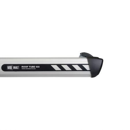 Van Vault aluminum 100 roof tube with black injection moulded end cap and Van Vault branding