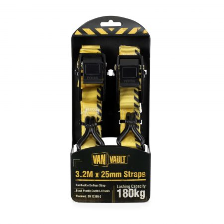 Pair of yellow 3.2Mx25mm polyester webbing straps with black plastic coated J hooks from Van Vault in black and yellow packaging