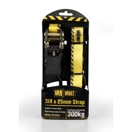 Yellow 3.0Mx25mm polyester webbing straps with black plastic coated S hooks from Van Vault, in black and yellow packaging