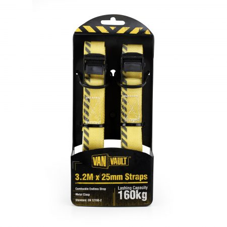 Pair of yellow 3.2Mx25mm polyester webbing endless straps with black metal clasps from Van Vault in black and yellow packaging