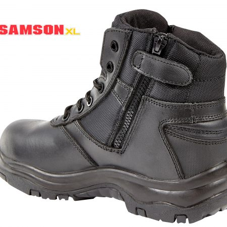 Samson XL Metal Free Black Leather Zip Boot 7109