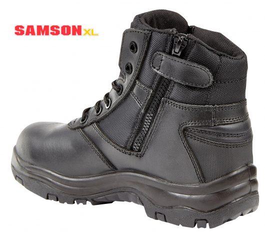 Samson XL Metal Free Black Leather Zip Boot 7109