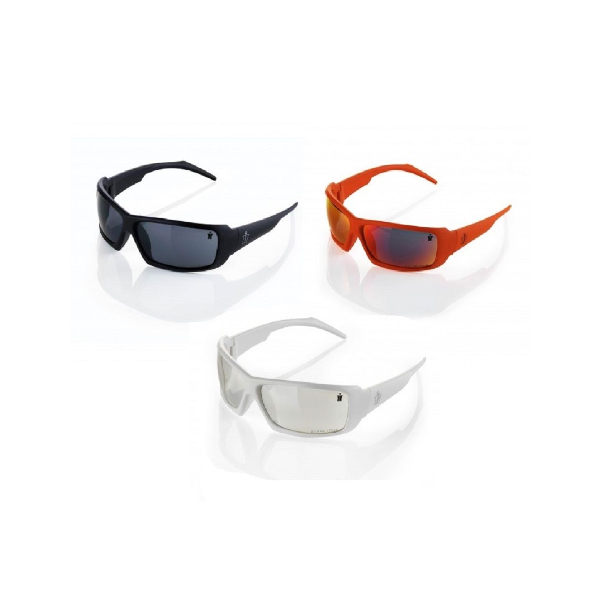 Nylon framed Scruffs Eagle safety specs in black, orange and white on a white background