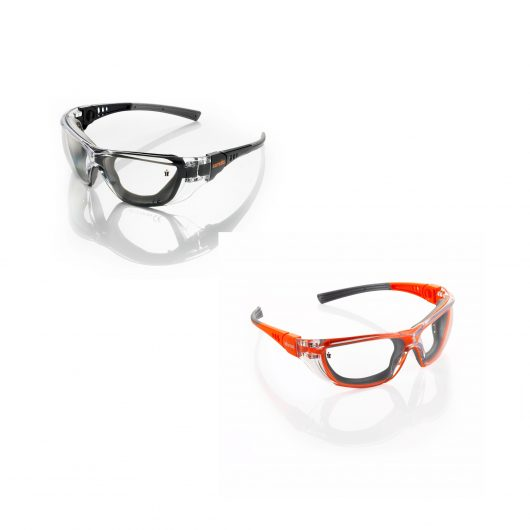 Plastic framed Scruffs Falcon safety specs in black and orange on a white background