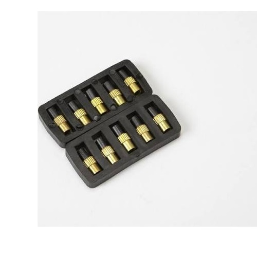 Pack of 10 spare flints in a black case for a flint lighter on a white background