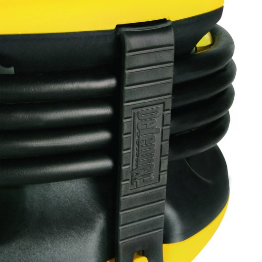 Close up of the black rubber cable holder strap with Defender branding on side of Defender spider ball power splitter