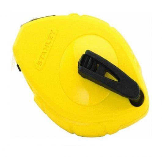 30m reelable Stanley chalk line with ergonomic yellow casing on a white background