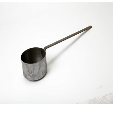 "Large 7.5"" diameter galvanised steel tar ladle on a white background"