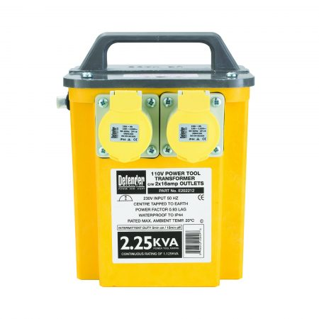 Defender transformer with yellow and grey GRP casing, 2 x 16A power outlets, carry handle and information label on front