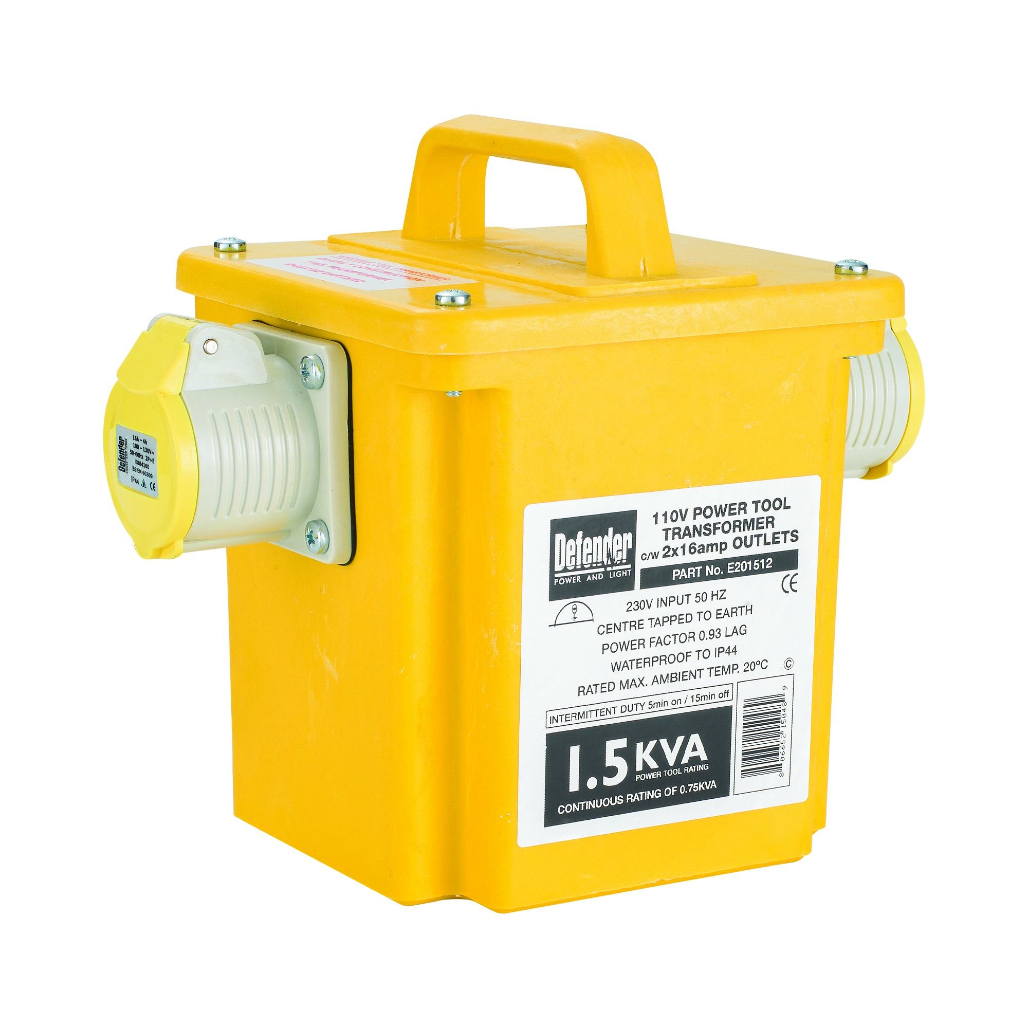Diagonal view of yellow Defender 1.5kVA transformer with 2 x 16A outlets, carry handle and Defender branded information label