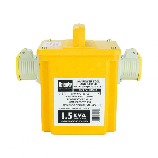 Defender 1.5kVA transformer with yellow GRP casing, 2 x 16A outlets, carry handle and Defender information label on front