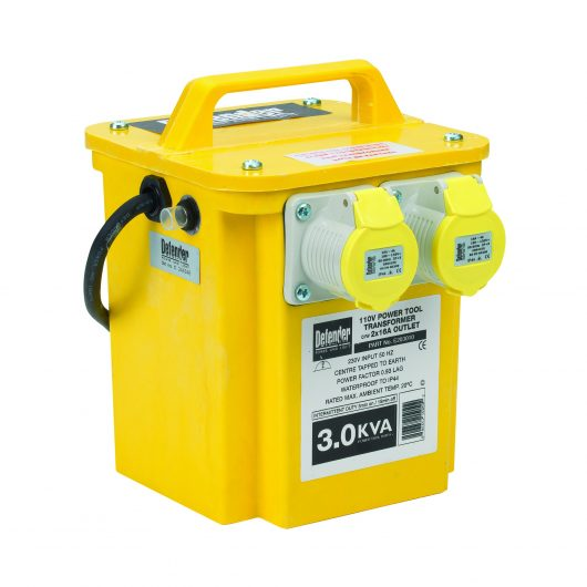 Diagonal view of yellow Defender 3kVA transformer with GRP casing, 2 x 16A power outlets, carry handle and Defender branding