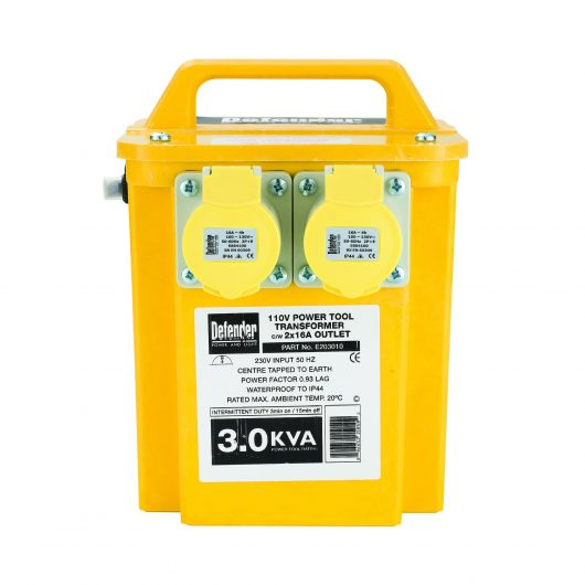 Yellow Defender 3kVA transformer with GRP casing, 2 x 16A power outlets, carry handle and Defender branding