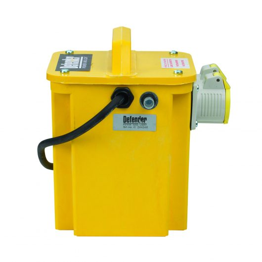 Side view of yellow Defender 3kVA transformer with GRP casing, 2 x 16A power outlets, carry handle and Defender branding