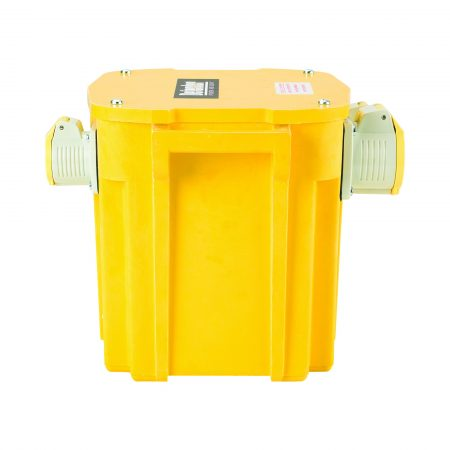 Side view of yellow Defender 5kVA transformer with GRP casing, 2 x 16A and 1 x 32A power outlets and Defender branding