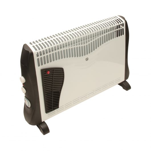 Black and white Rhino turbo convector heater with thermostat and adjuster knobs on the side on a white background