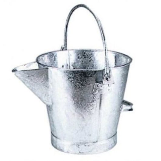 Galvanised steel pouring bucket with V pouring lip and handles on a white background