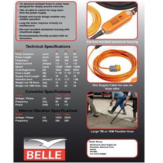 Information sheet for different size Belle vibratech high frequency concrete pokers