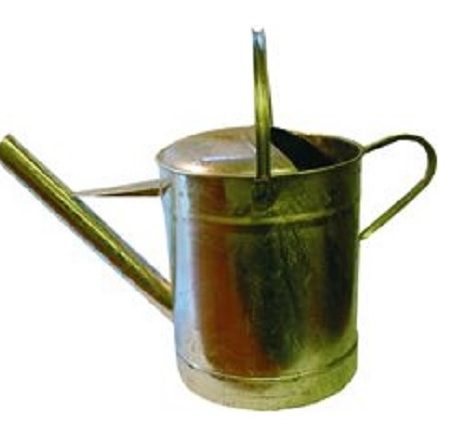 Reinforced steel pouring can with 3 gallon wide spout on a white background