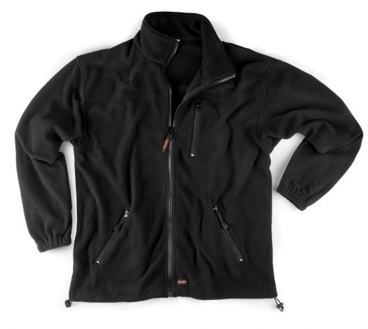 Black polyester microfleece worker fleece with 3 external pockets, elasticated hems and cuffs and Scruffs branding