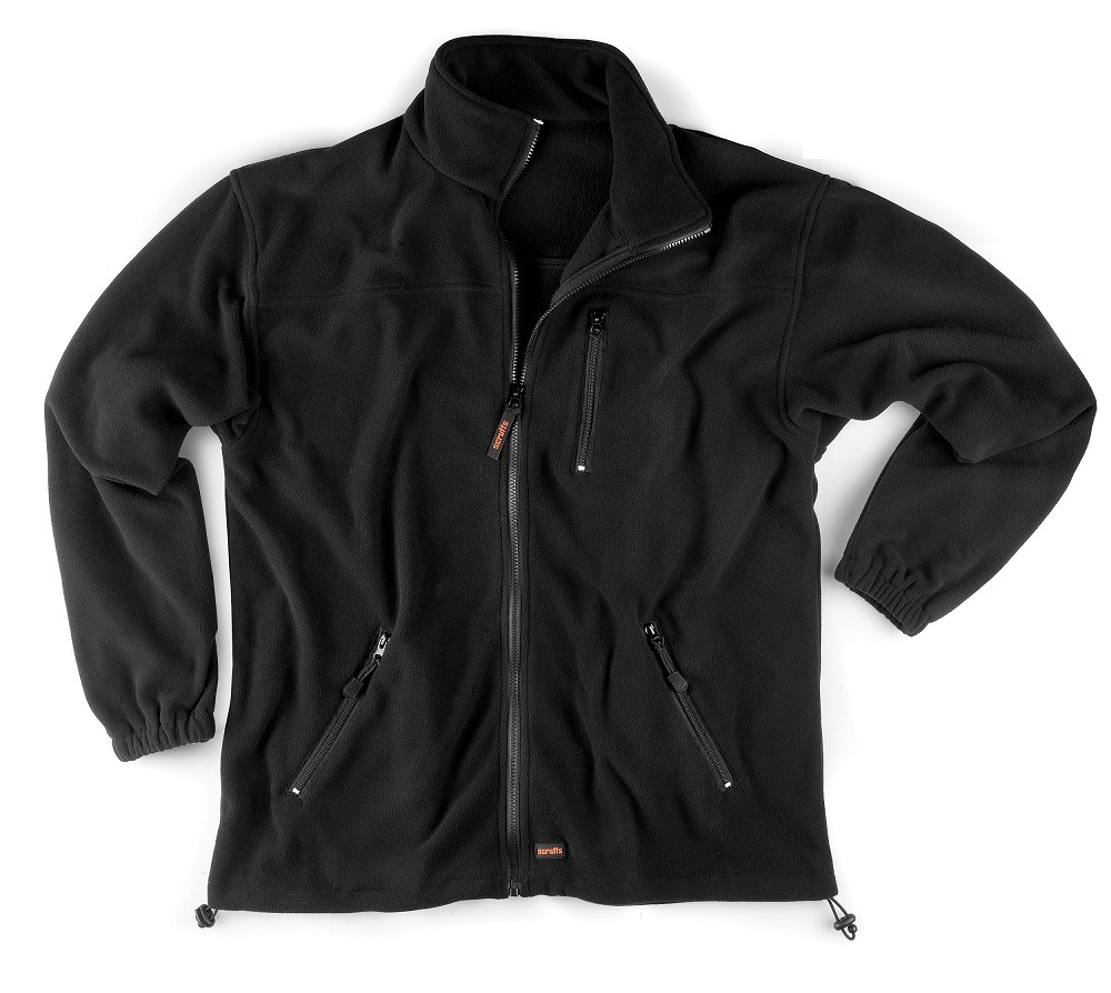 Black polyester microfleece worker fleece with 3 external pockets, elasticated hems and cuffs and Scruffs branding