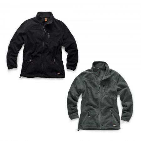 Black and graphite Scruffs worker fleeces made from polyester microfleece with 3 external pockets and Scruffs branding