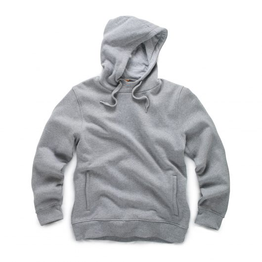 Grey cotton rich brushed back fleece Scruffs worker hoodie with zipped pockets, adjustable hood and ribbed hem and cuffs