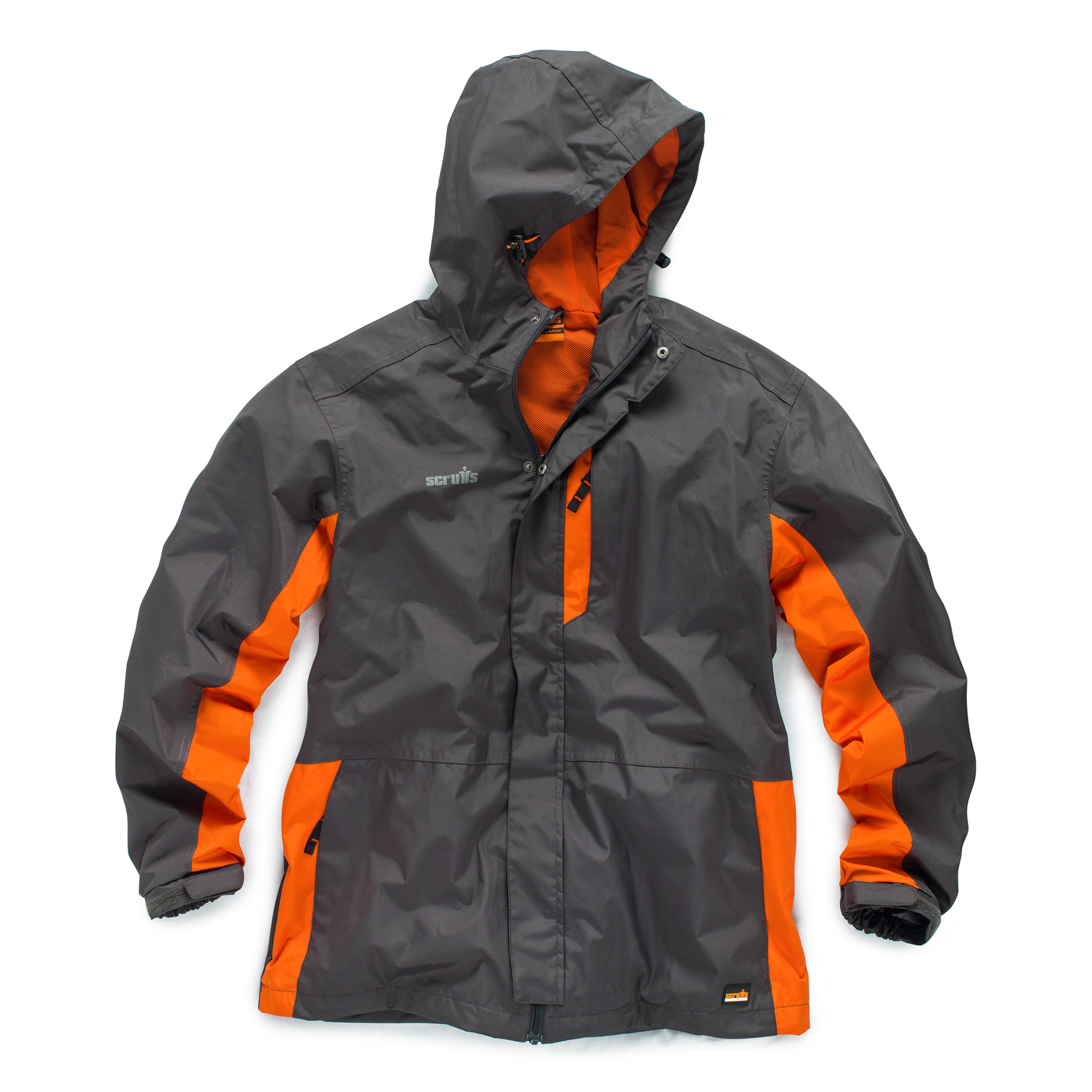 Graphite and orange polyester ripstop worker jacket with Scruffs branding, a hood, multiple pockets and orange mesh lining