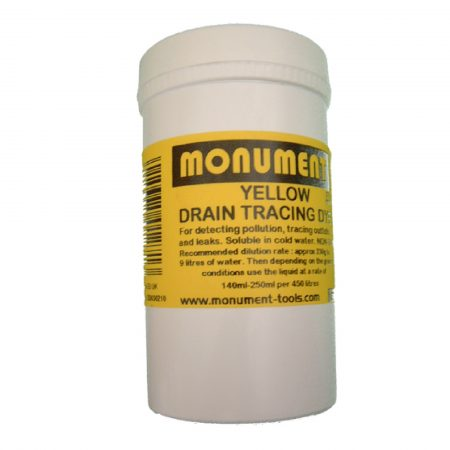 White tub of 8oz. yellow drain dye from Monument with yellow information label on and Monument logo