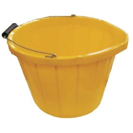 Yellow long life bucket with metal handle with plastic/wooden reinforced grip on a white background