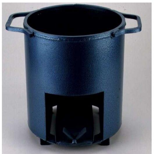 Metal asphalt bucket heater on a grey background