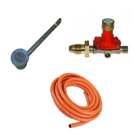 5cwt asphalt cauldron including asphalt burner, orange gas hose and red and gold metal gas regulator