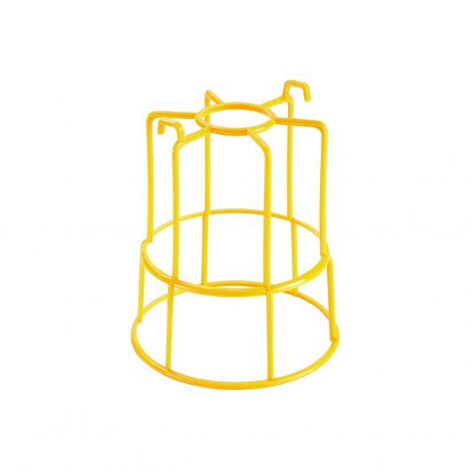 Yellow plastic integrated mesh guard for Defender festoon lights on a white background