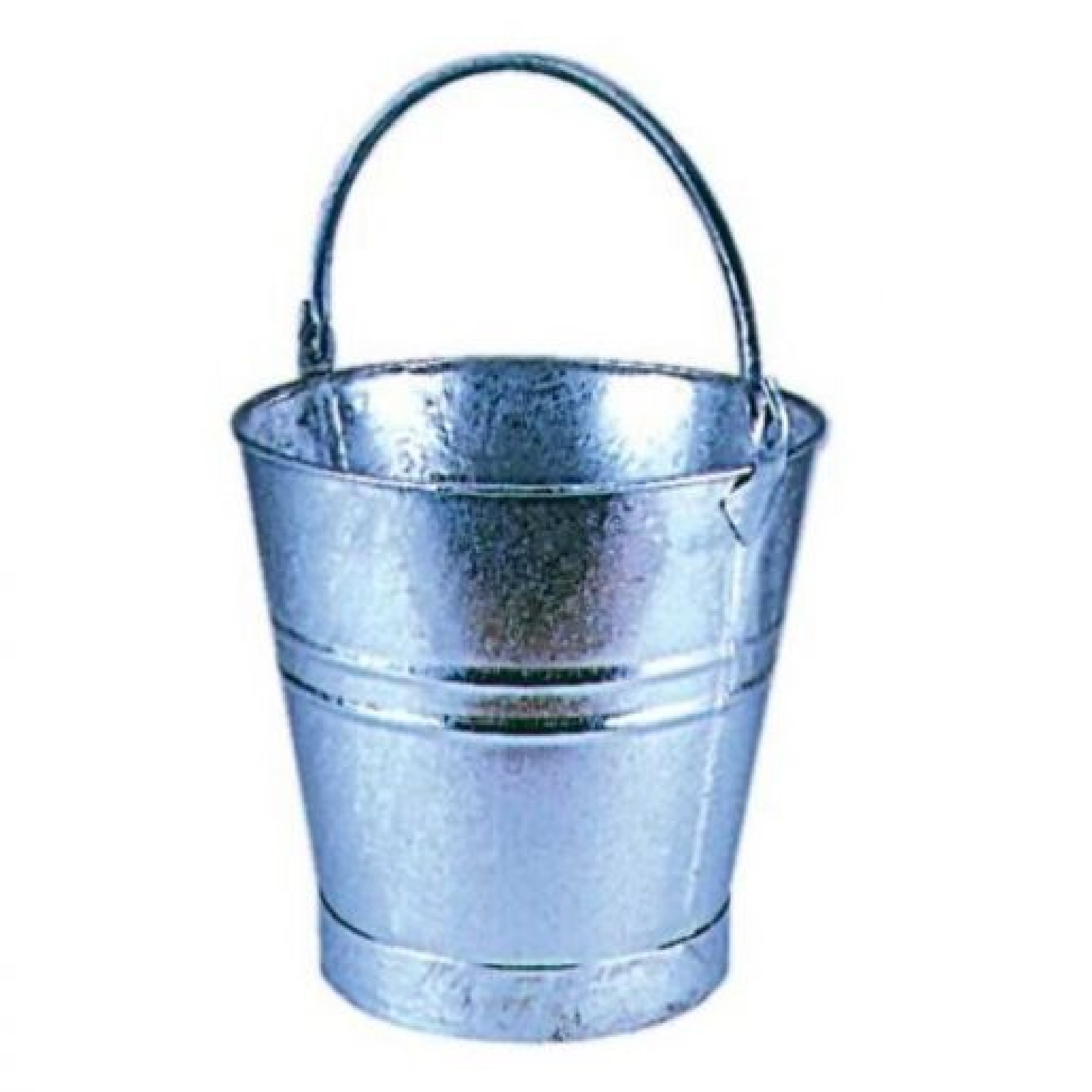 "Heavy duty galvanised steel bucket with 12"" diameter and handle on a white background"