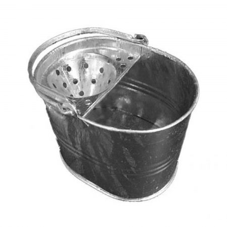 Galvanised metal mop bucket with handle and holed half cover on a white background