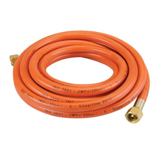 5m orange gas hose roll on a white background