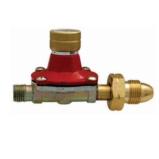 Red and gold metal 0-4 bar propane gas regulator on a white background