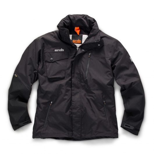 Black nylon pro jacket with multiple pockets, Cordura arm panels and contrasting grey Scruffs logo above chest pocket