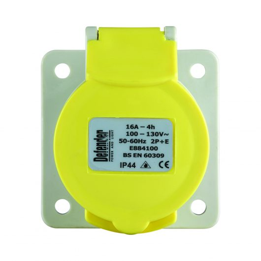 Defender 32A panel socket 110V with yellow protective lid with information label on and ergonomic design, on a white background