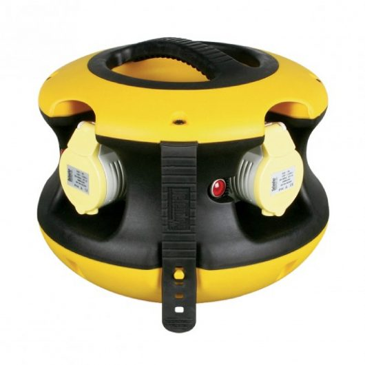 Defender 110v spider ball power splitter with black and yellow nylon/rubber casing, 4 power outlets and rubber cable tidy strap