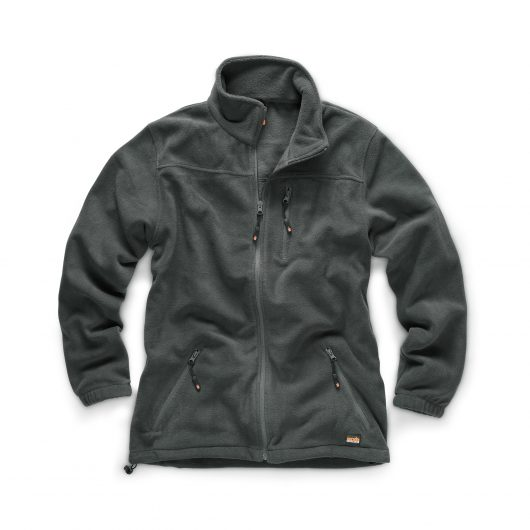 Graphite polyester microfleece worker fleece with 3 external pockets, elasticated hems and cuffs and Scruffs branding