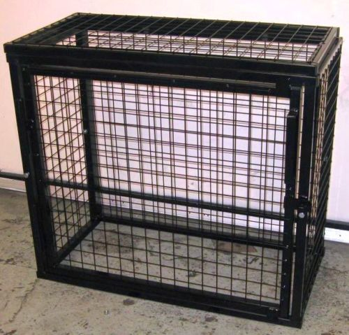 Black powder coated welded mesh 900 x 1000 x 500mm gas cage with safety sign on front door