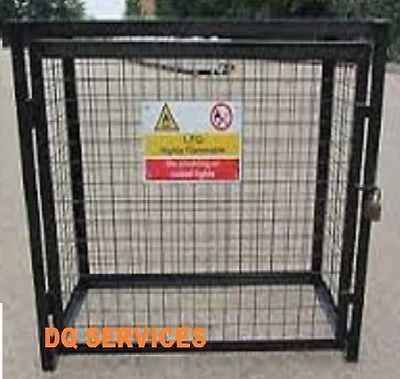 Black powder coated welded mesh 1400 x 1000 x 500mm gas cage with safety sign on front door