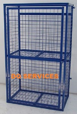 Blue powder coated welded mesh 1700 x 1000 x 500mm gas cage with safety sign on front door